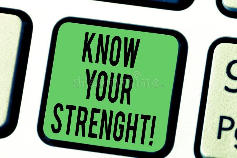 Słowo pisze tekscie Zna Twój siłę Biznesowy pojęcie dla utożsamiać ilość lub stan być silny przy Klawiaturowym kluczem ilustracji