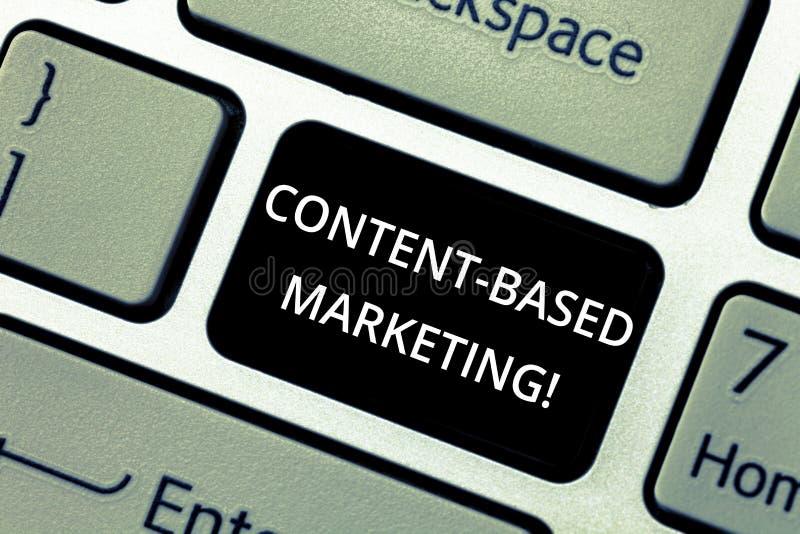 Słowo pisze tekst zawartości Zasadzonym marketingu Biznesowy pojęcie dla Reklamować tworzy zakłóca wartościową dane klawiaturę royalty ilustracja