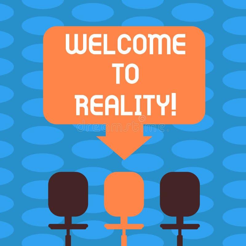 Słowo pisze teksta powitaniu rzeczywistość Biznesowy pojęcie dla stan rzeczy właściwie istnieją jako przeciwstawna idealistyczna  ilustracji