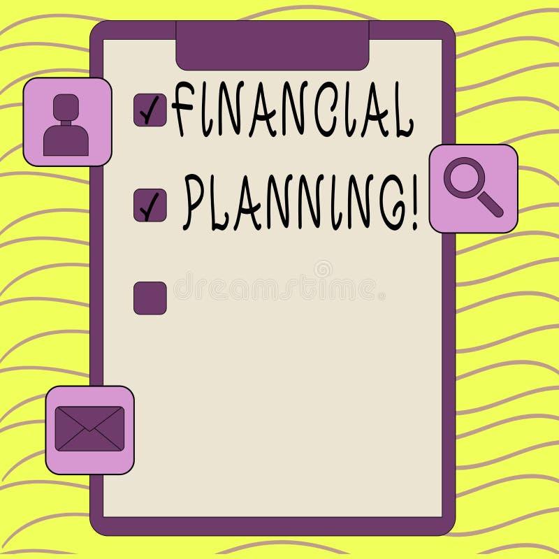 Słowo pisze tekstowi Pieniężnym planowaniu Biznesowy pojęcie dla Rozliczać Planistyczną strategię Analizuje ilustracji