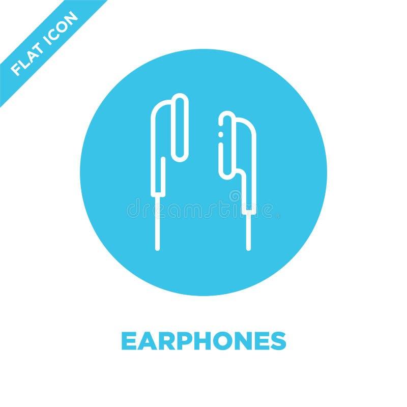 Słuchawki ikony wektor Cienka kreskowa słuchawka konturu ikony wektoru ilustracja słuchawka symbol dla używa na sieci i wiszącej  ilustracji