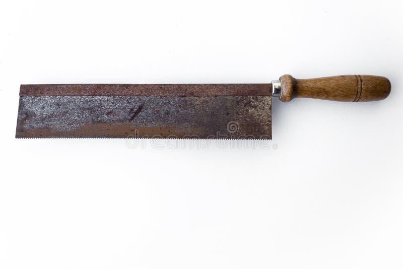 Såg/isolerad gammal handsaw - tappninghjälpmedel arkivfoton