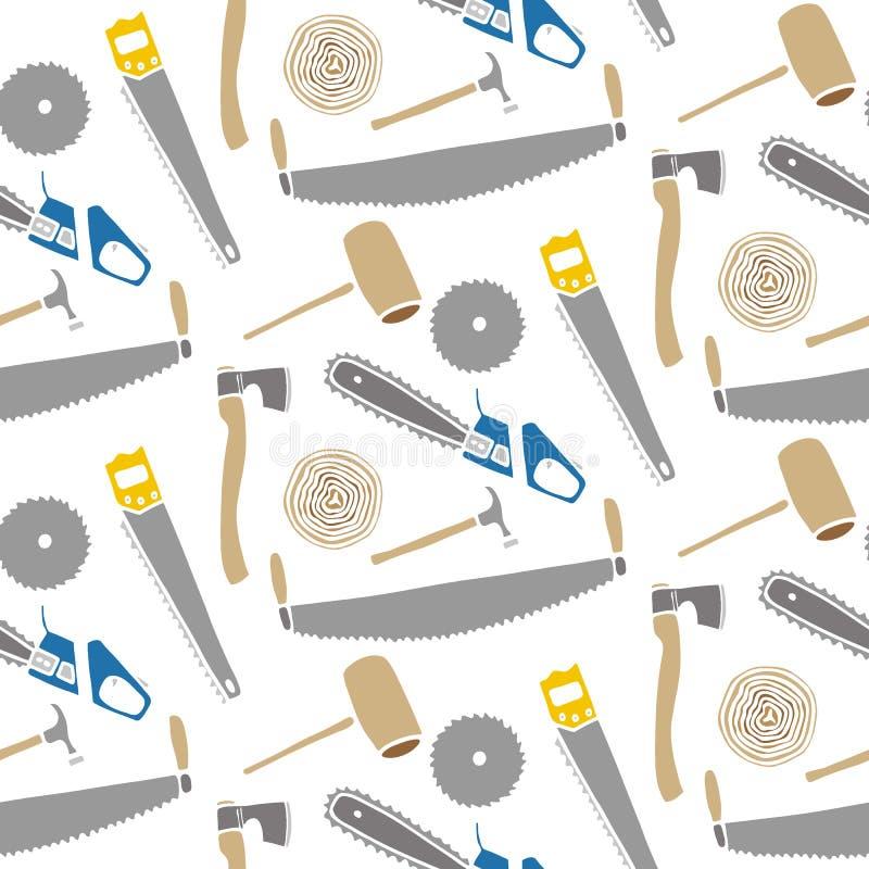 Sågar och hammare - trä och hjälpmedel Hand-dragen sömlös tecknad filmmodell med att logga apparaten också vektor för coreldrawil stock illustrationer
