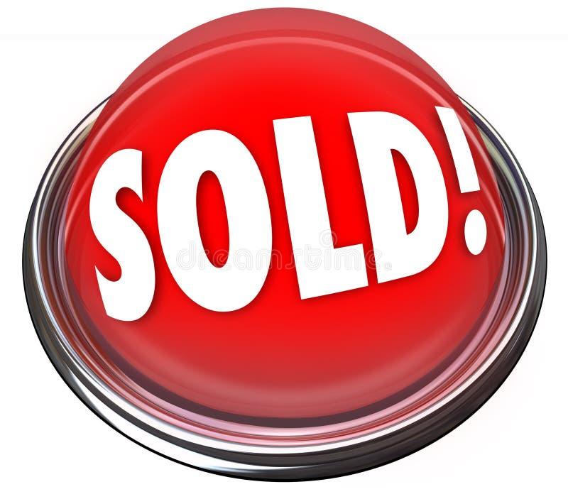 Sålt bud för auktion för avtal för ljus för röd knapp sista royaltyfri illustrationer