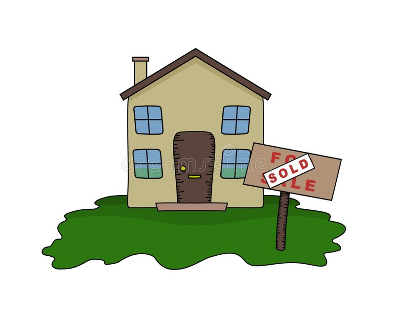 sålt hus vektor illustrationer
