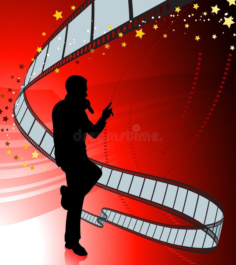 sångare för rulle för bakgrundsfilm röd vektor illustrationer