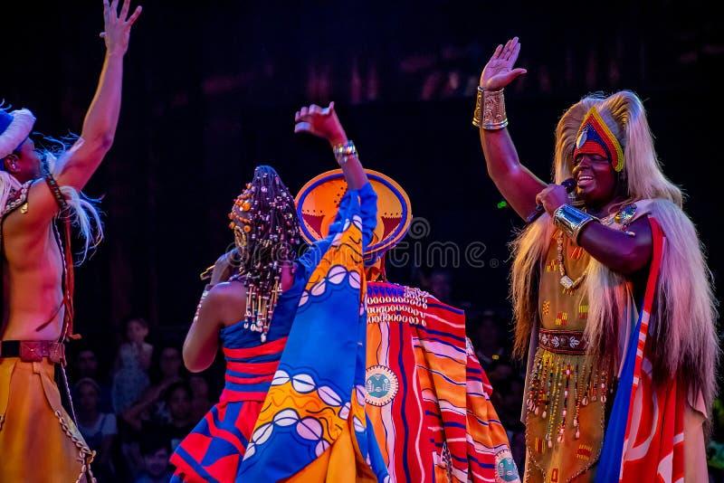 Sångare och dansare i festivalen av Lion King i djurriket på Walt Disney World 5 arkivbilder