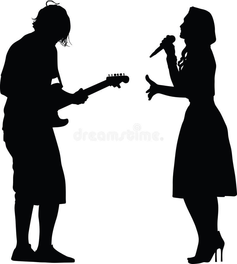 Sångare och gitarrist vektor illustrationer