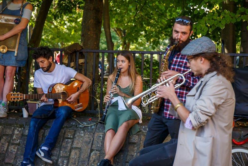 Sångare på gatan arkivfoto