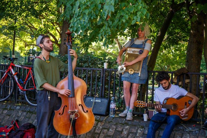 Sångare på gatan royaltyfri fotografi