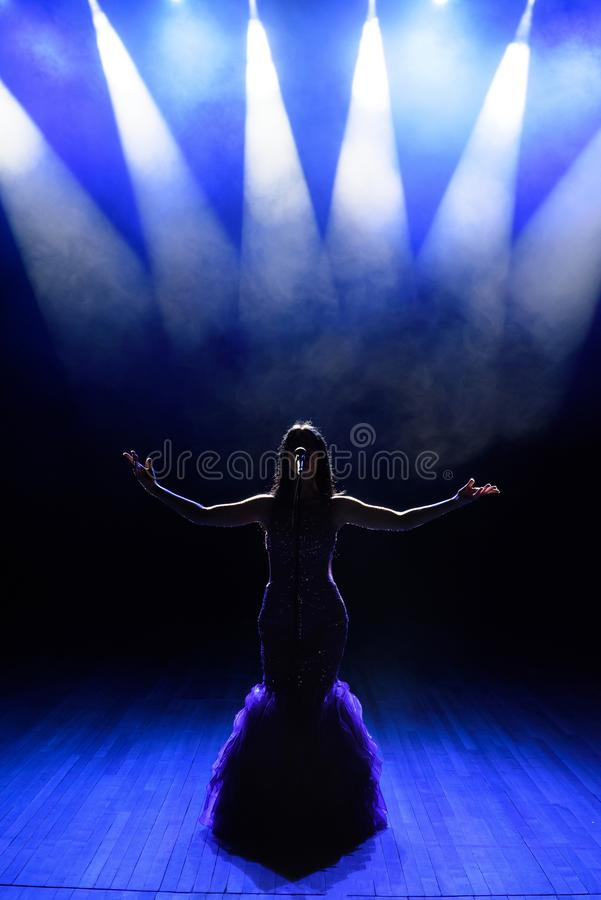 Sångare som utför på etapp med ljus konsert Sikt från salongen arkivbild