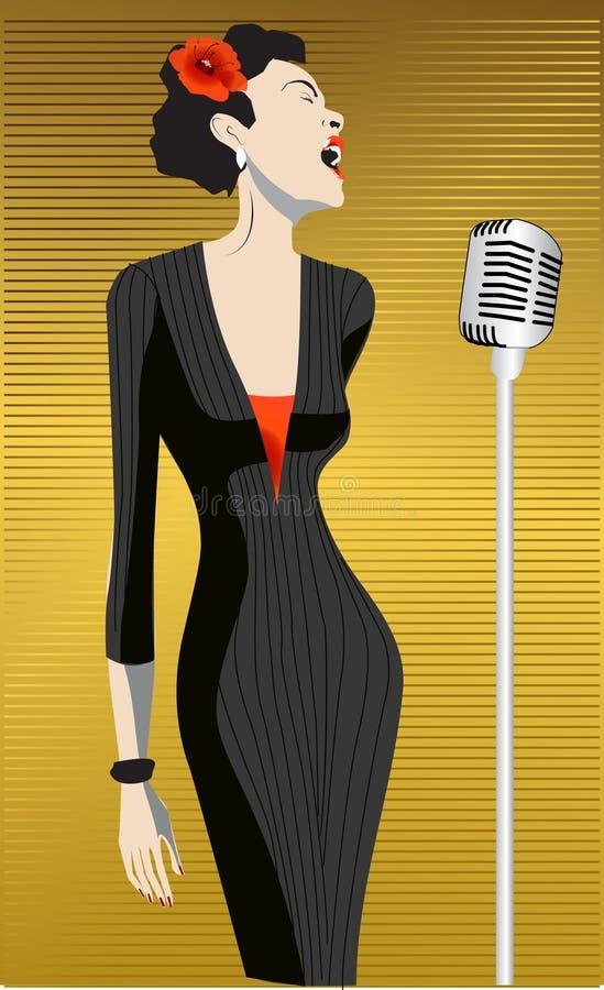 sångarekvinna royaltyfri illustrationer