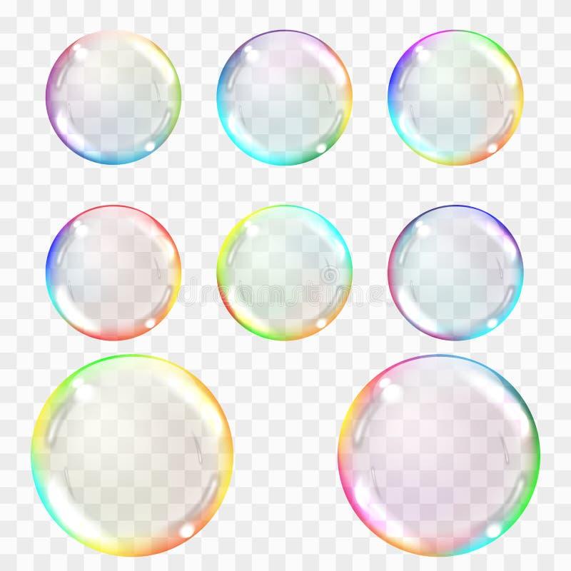Såpbubbla Uppsättning av mångfärgade genomskinliga bubblor med ilskna blickar stock illustrationer