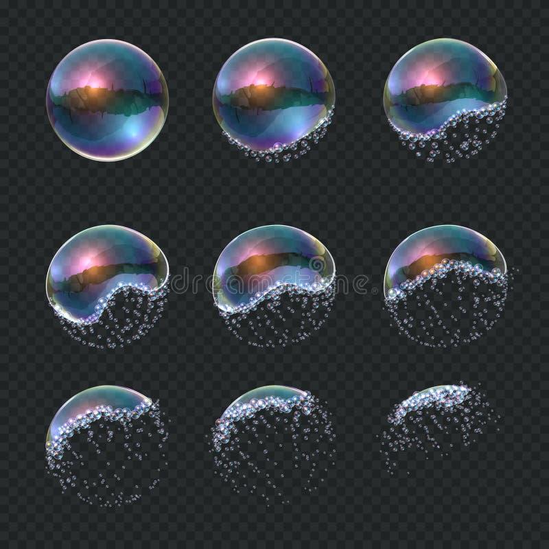 Såpbubblan exploderar Den realistiska vattensfärexplosionen, genomskinliga blåa reflexioner isolerade tvålskumballongen vektor stock illustrationer