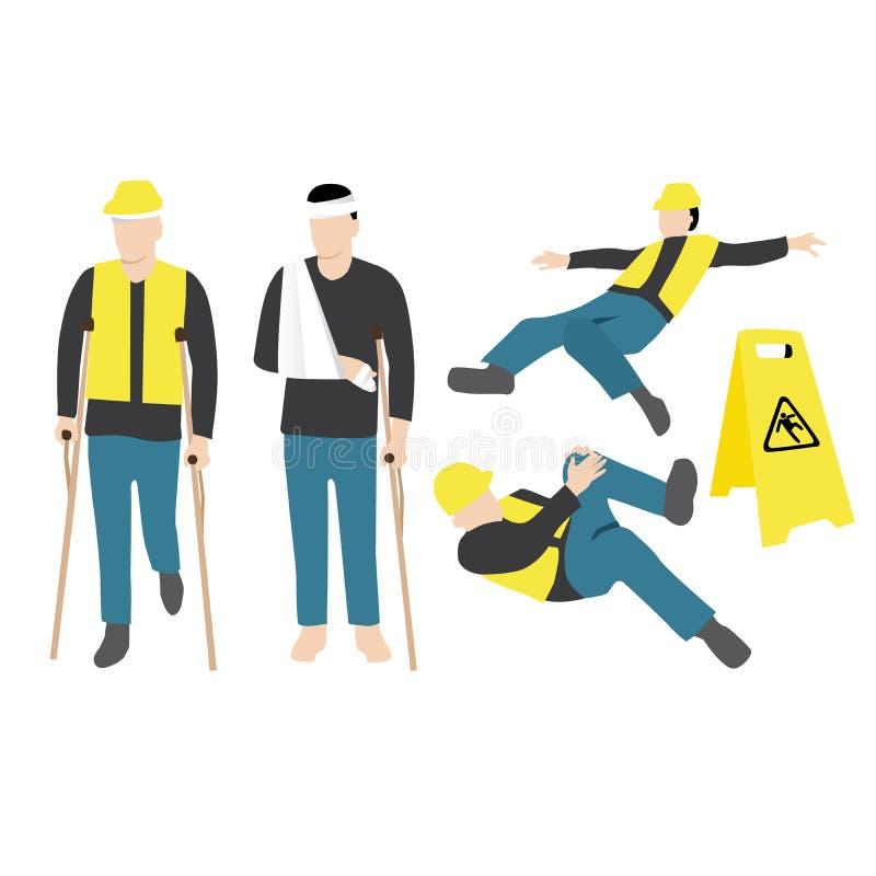 sårad arbetare vektor illustrationer