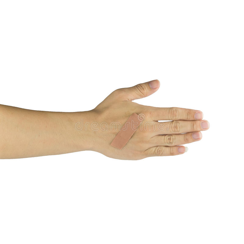 Sårad hand och finger som täckas av murbruk på vit bakgrund fotografering för bildbyråer