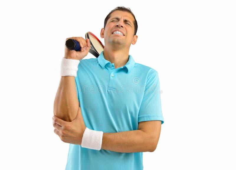 Sårad tennisidrottsman arkivbild