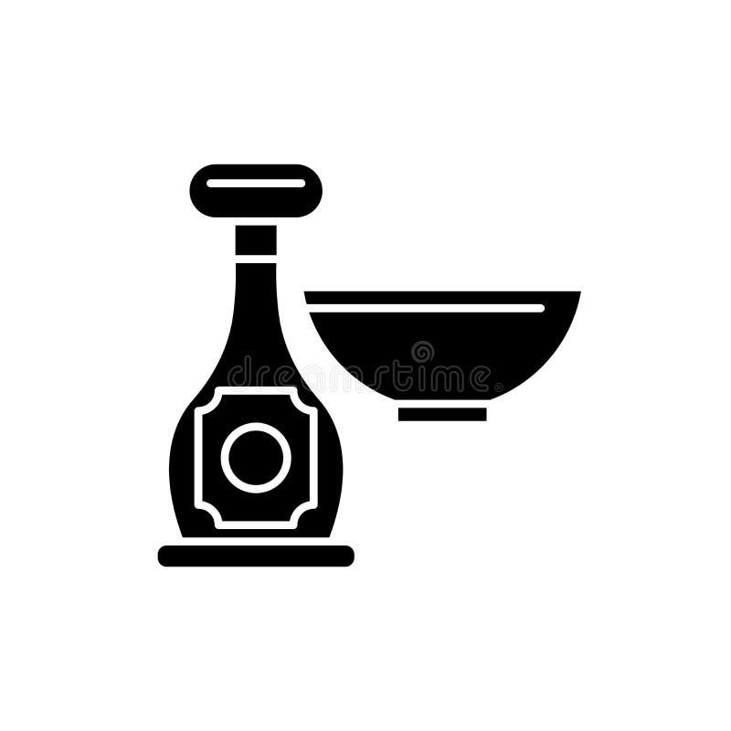 Sås i en flasksvartsymbol, vektortecken på isolerad bakgrund Sås i ett flaskbegreppssymbol, illustration vektor illustrationer