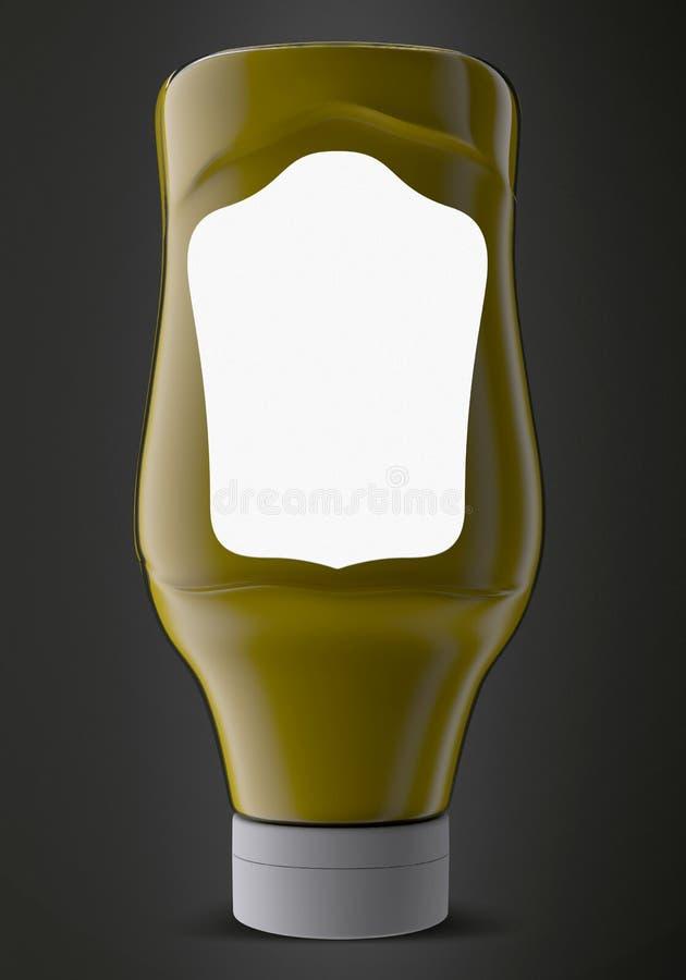 Sås, ketchup, senap eller någon vätskelivsmedelsproduktbehållare på svart bakgrund illustration 3d stock illustrationer