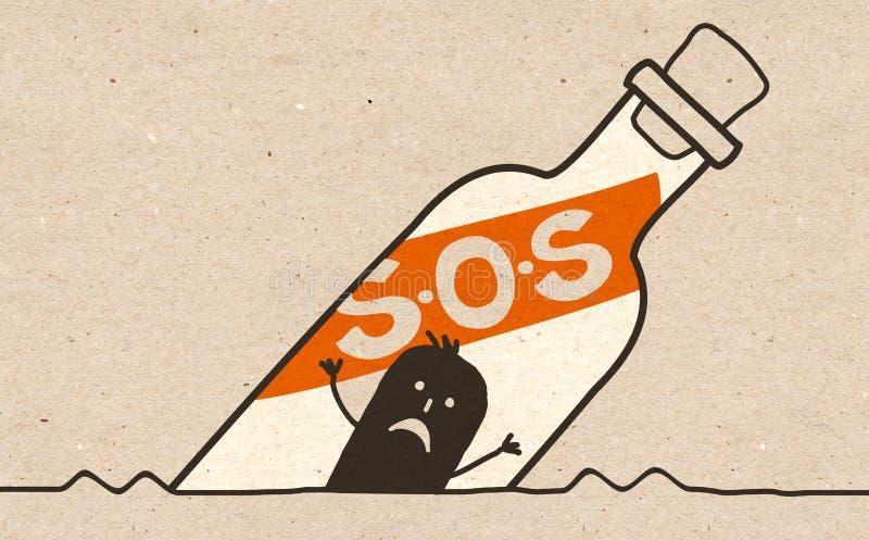 S的黑人动画片人 O S瓶 向量例证