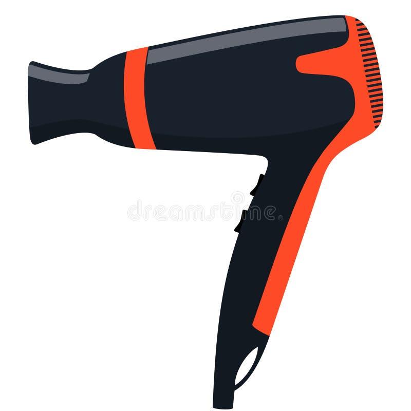 Sèche-cheveux professionnel élégant moderne pour les cheveux de séchage et dénommer Illustration plate de vecteur illustration de vecteur