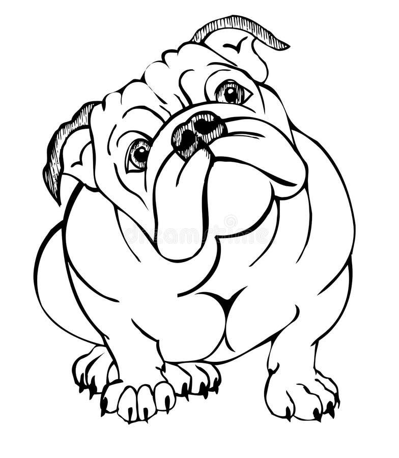 Séance anglaise de bouledogue illustration stock