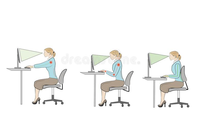 Séance correcte aux conseils d'ergonomie de posture de bureau illustration libre de droits