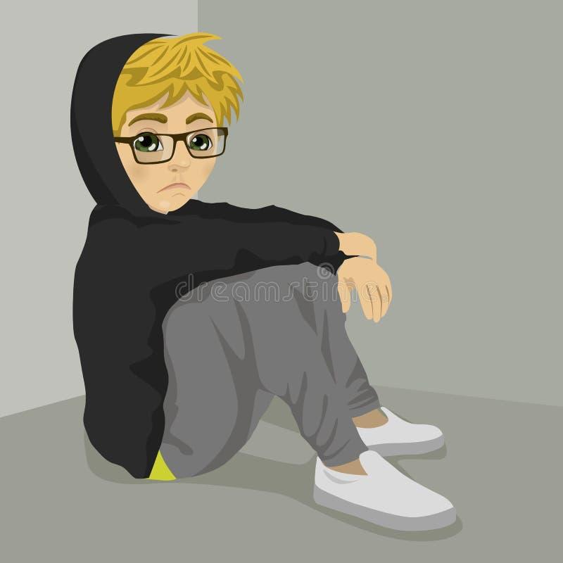 Séance désespérée de garçon de ballot d'adolescent sur le plancher au-dessus du fond gris avec les vêtements foncés illustration de vecteur
