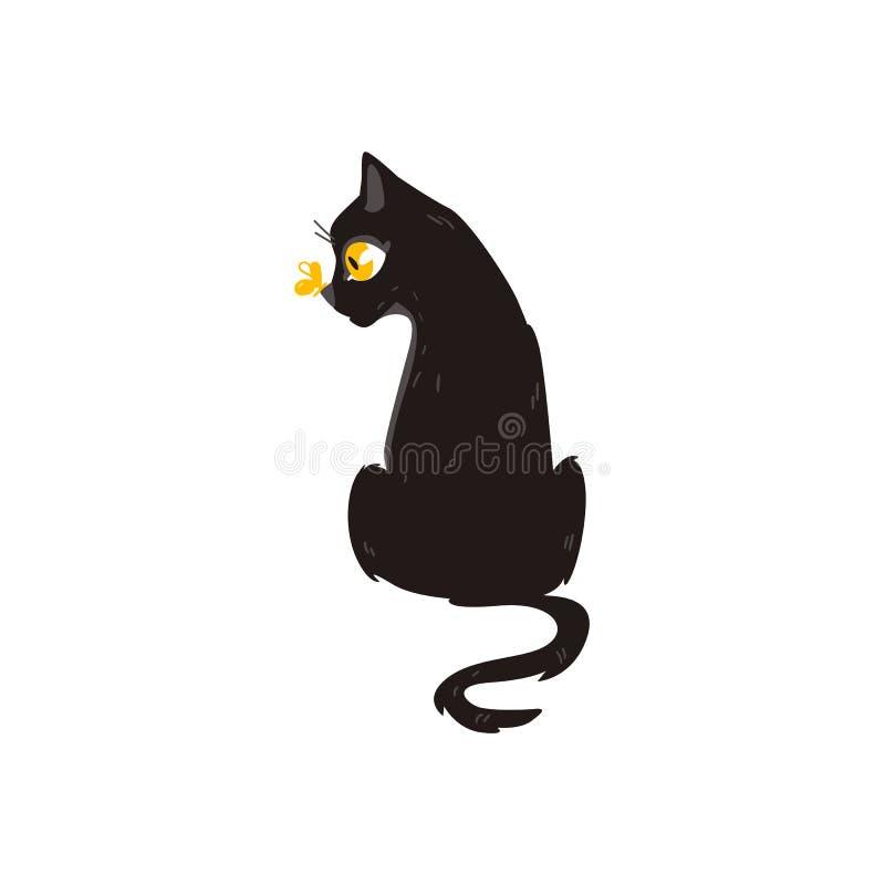 Séance d'animal de chat de bande dessinée de vecteur d'isolement illustration de vecteur