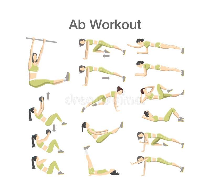 Séance d'entraînement d'ABS pour des femmes Exercice pour le corps parfait illustration libre de droits