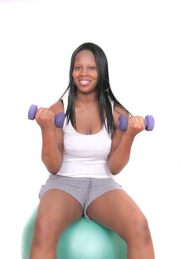Séance d'entraînement de femme d'Afro-américain images stock