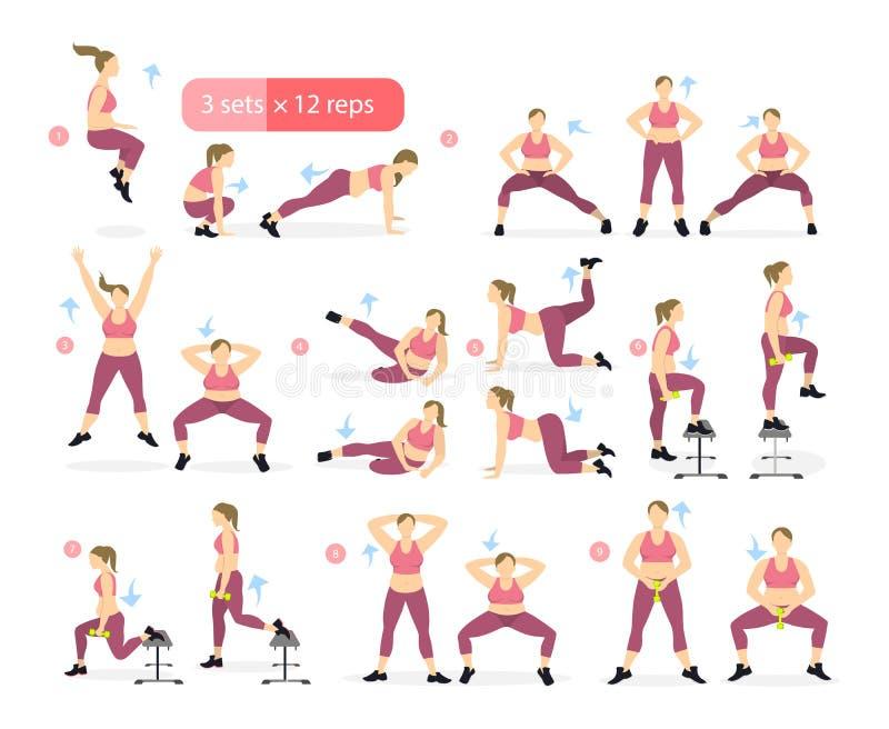 Séance d'entraînement de jambes pour la graisse illustration libre de droits