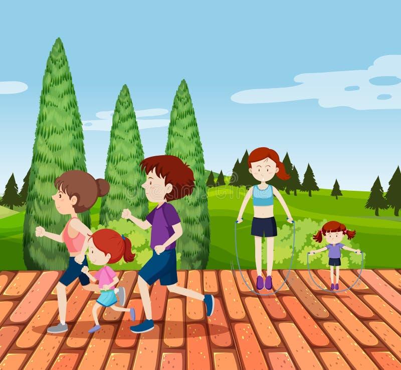 Séance d'entraînement de personnes au parc illustration stock
