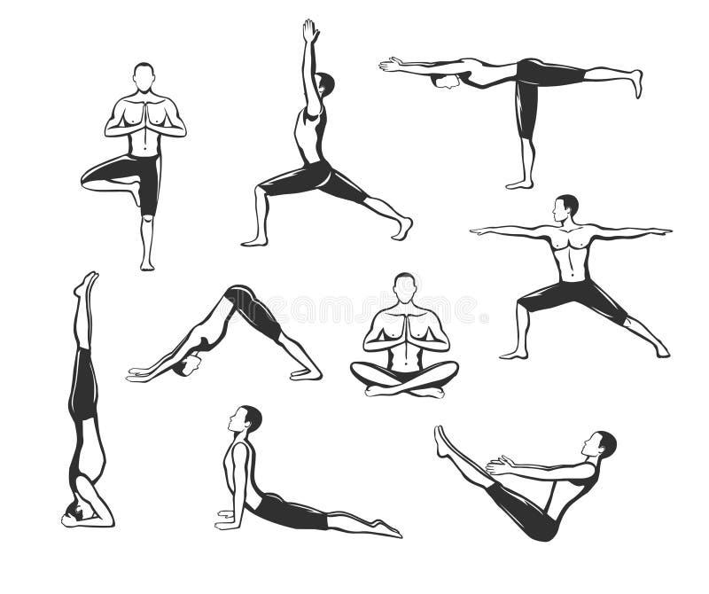 Séance d'entraînement de yoga Silhouettes d'un homme dans l'arbre, Sirsasana, bateau, guerrier un, deux, trois, vers le bas et ch illustration stock