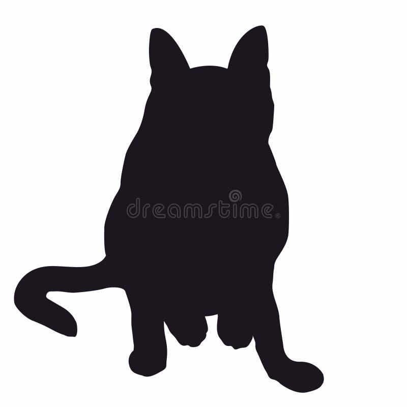 Séance de chat de Silhuette attendant la gelée illustration libre de droits