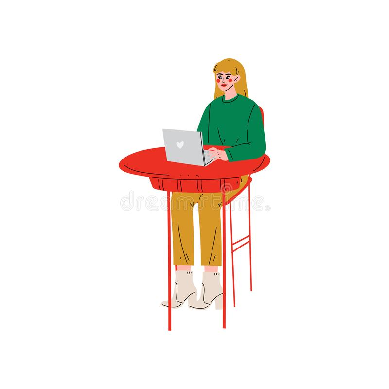 Séance de fille au bureau et fonctionnement sur l'illustration d'ordinateur portable, indépendante ou sociale de réseau de concep illustration stock