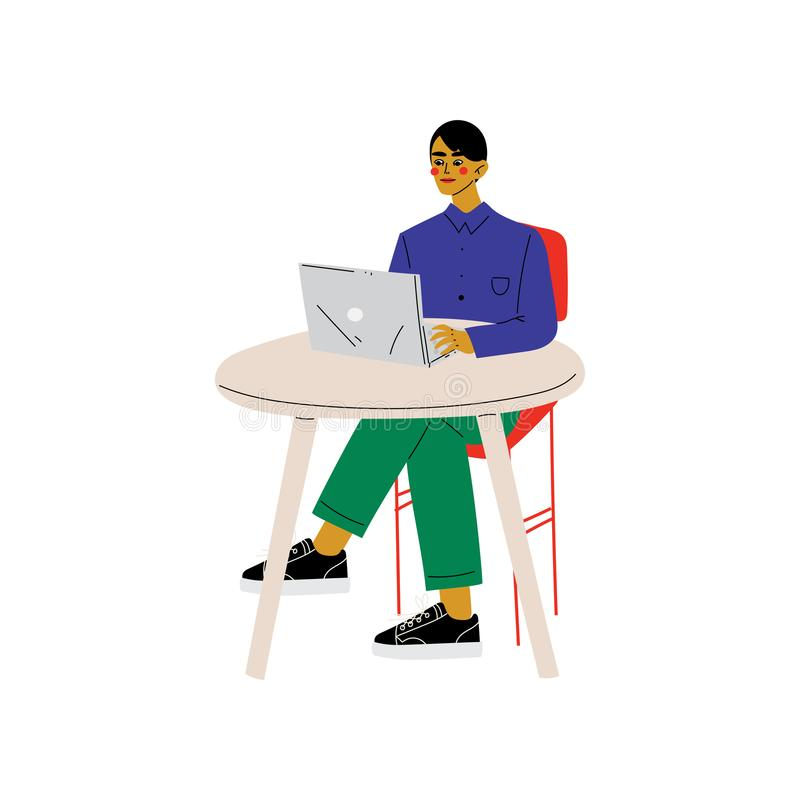 Séance de jeune homme au bureau et fonctionnement sur l'illustration d'ordinateur portable, indépendante ou sociale de réseau de  illustration libre de droits