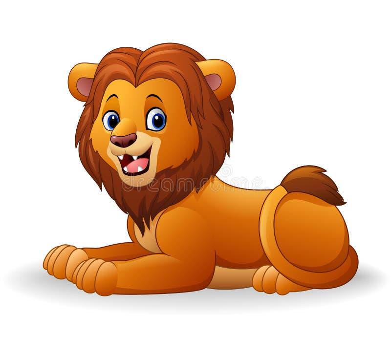 Séance de lion de bande dessinée illustration stock