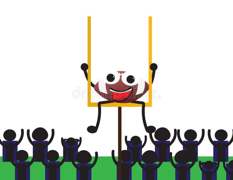 Séance de personnage de dessin animé de boule de football américain illustration de vecteur