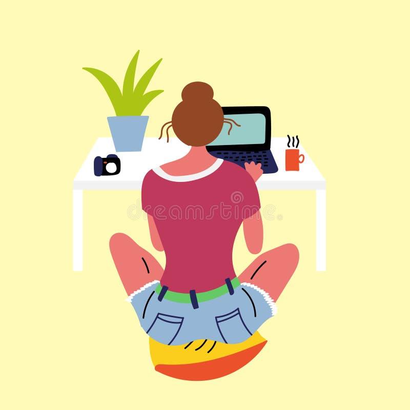 Séance de repos de fille sur un oreiller et regard dans un ordinateur portable illustration de vecteur