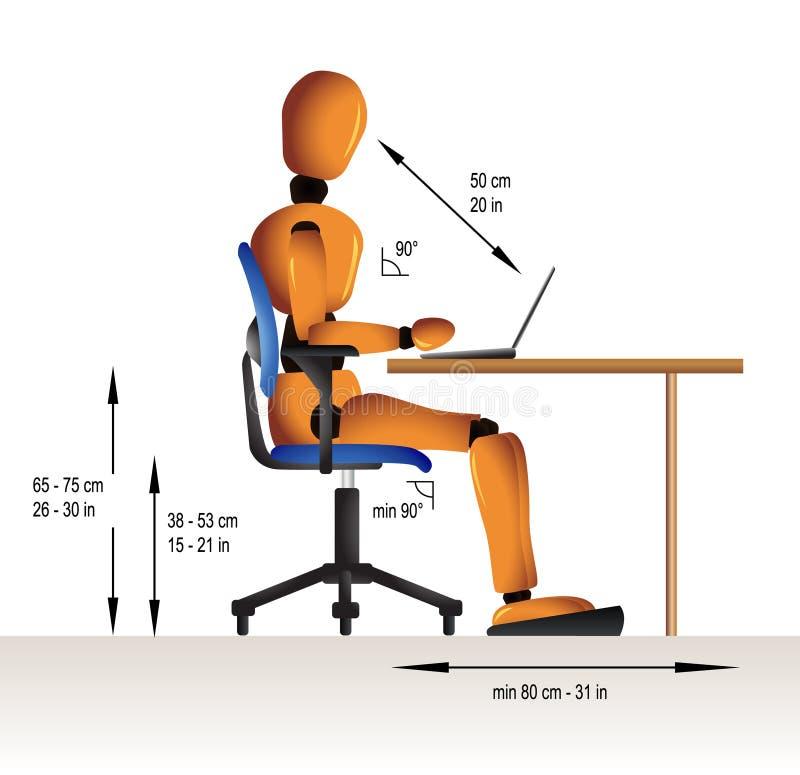 Séance ergonomique illustration stock