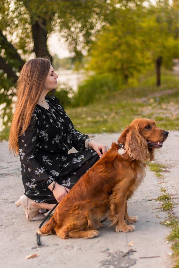 Séance et jeu de femme avec son chien chien marchant en parc vert extérieur photographie stock