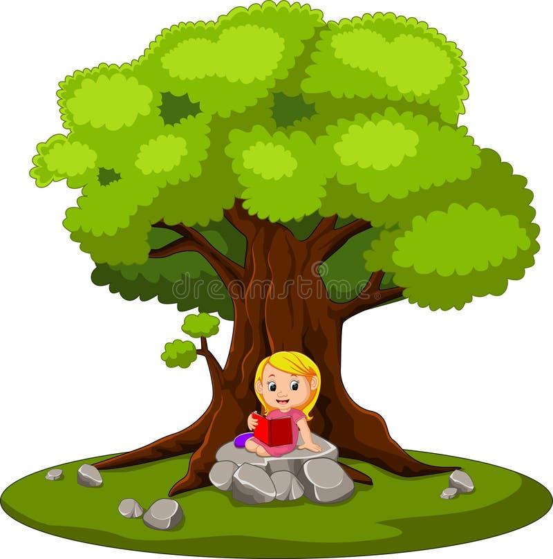 Séance et lecture de fille un livre illustration de vecteur