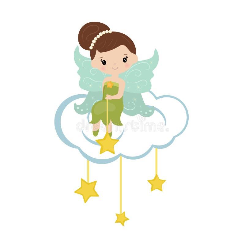 Séance féerique de bande dessinée sur le nuage illustration de vecteur