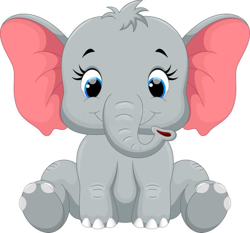 Séance mignonne de bande dessinée d'éléphant de bébé illustration stock