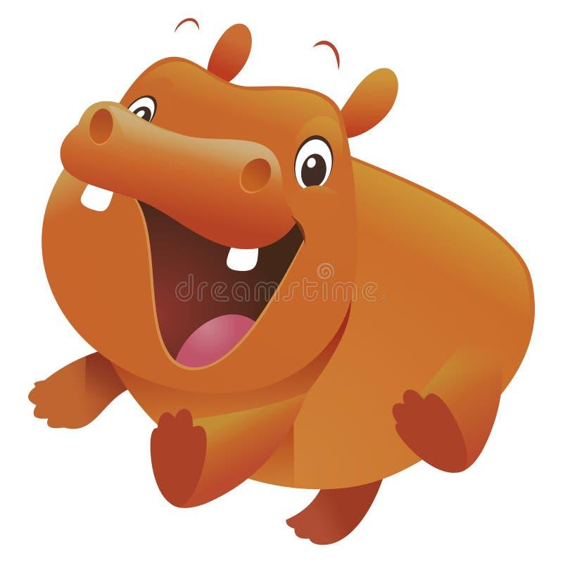 Séance mignonne de bande dessinée d'hippopotame de bébé illustration de vecteur