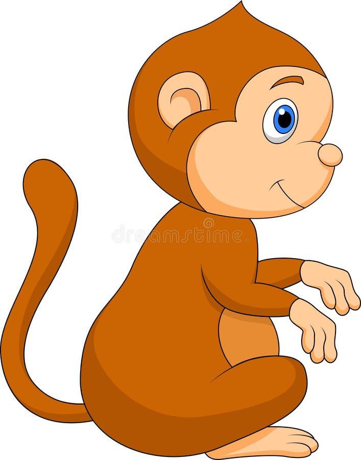 Séance mignonne de bande dessinée de singe illustration de vecteur