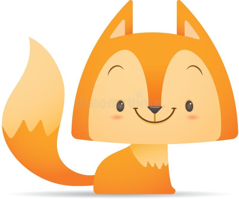 Séance mignonne de Fox de Kawaii illustration de vecteur