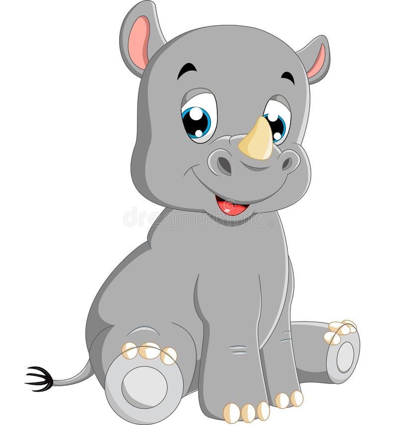 Séance mignonne de rhinocéros de bébé illustration de vecteur