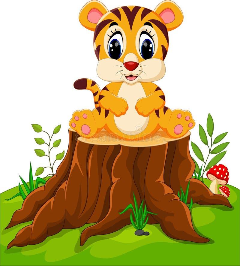 Séance mignonne de tigre de bébé illustration de vecteur